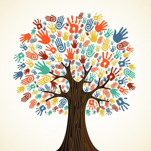 An illustration of a tree, maybe a maple, with different colored hands for leaves, in a metaphor for diversity and community